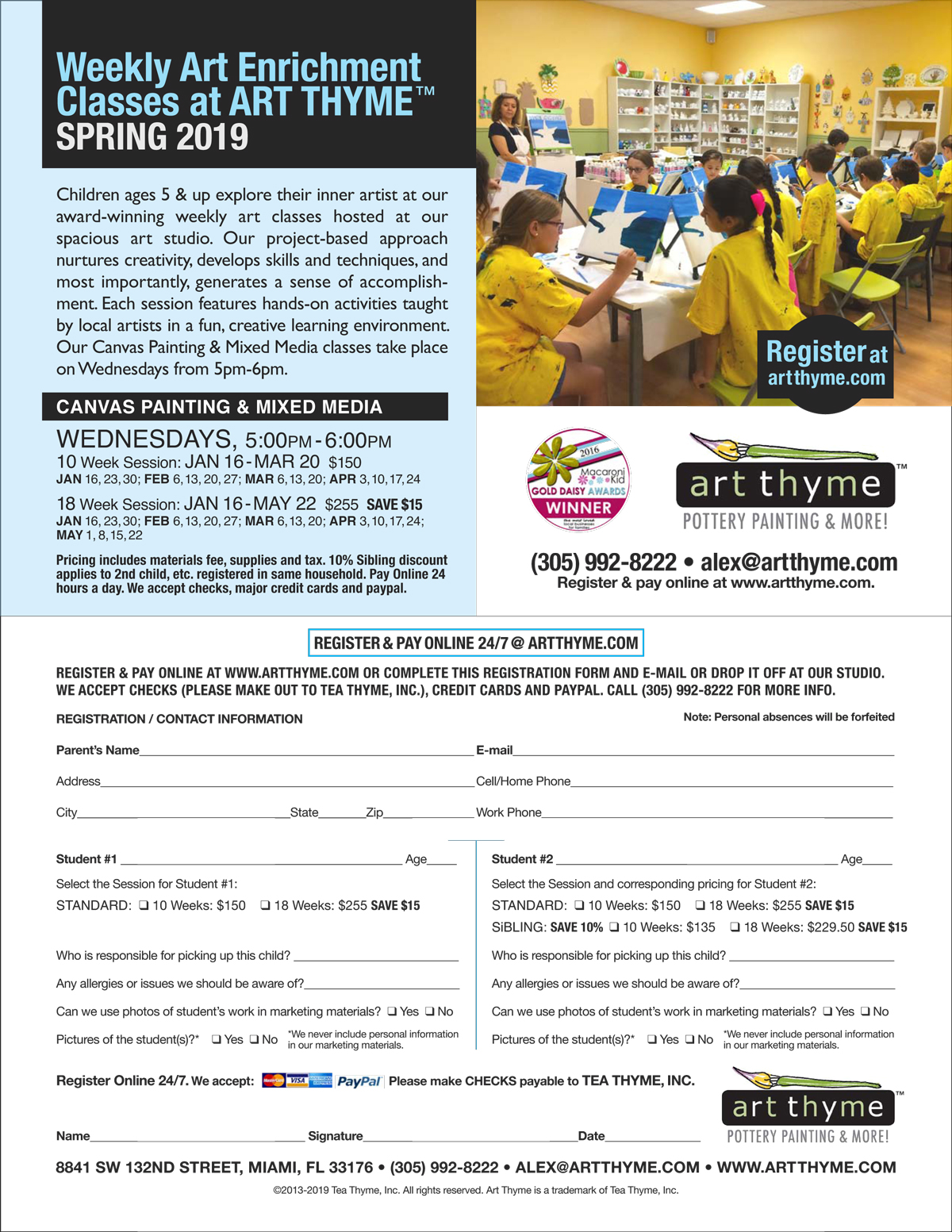 Art Enrichment Classes at Art Thyme Flyer